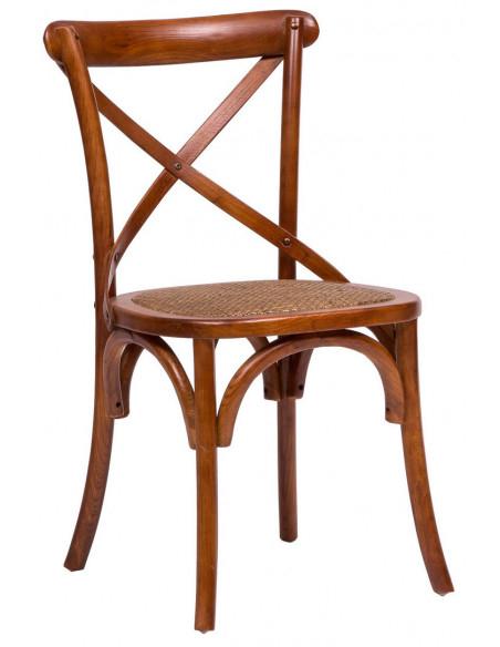 Sedia Thonet in massello di frassino e seduta rattan finitura noce